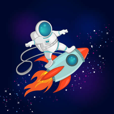Vector Illustration of little astronaut surfer rides on spaceship through the space. Childrens wallpaper in the space style. Prints design. Ilustração