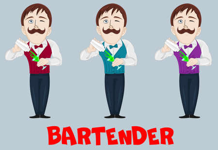 Funny cartoon bartender making a cocktail drink in shaker. Barman character at work. Hand drawn man with mustache. Mascot for bar, cafe, pub, restaurant, party decoration, print.