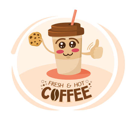 Funny cartoon character coffee cup holding a cookie. Take away coffee mascot. Happy cup of cappuccino. Breakfast, morning, wake up concept. Ilustração