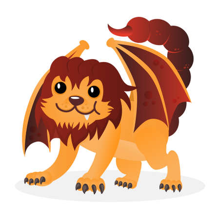 Cartoon happy cute vector little playful manticore. Funny chimera or sphinx. Design for print, emblem, t-shirt, party decoration, sticker, logotype. Ilustração