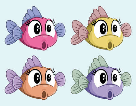Cute vector surprised fish female cartoon character. Funny shocked little fish. Four colors.
