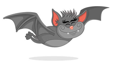 Vector Illustration of Cute Bat Cartoon  flies forward. Artwork with the theme of the flying bat Halloween.