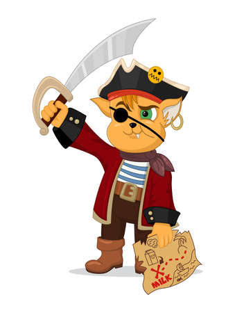 Vector illustration of funny cartoon cat pirate with a treasure map and a saber. Design for print, emblem, t-shirt, party decoration, sticker, mascot, logotype. Ilustração