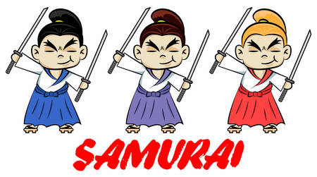 Funny chibi samurai with two katanas.  Cute ninja samurai warrior fighter character in three color styles. Ilustração