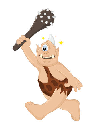 Funny cartoon vector Cyclops caveman with a cudgel hunts. Ancient mythical creature. Cute troll. Design for print, emblem, t-shirt, party decoration.