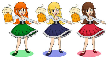 Funny girls with a different color hair and skirt keep the beer. Invites You Enter. Illustration of German girl serving beer. Blonde, brunette, redhead. Pretty Bavarian girl with beer. Oktoberfest.