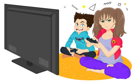 Girl and boy are playing game console and laughing while sitting on the floor. Brother and sister playing TV game. Young people resting at home. Happy kids holding gamepads. Friends playing video game