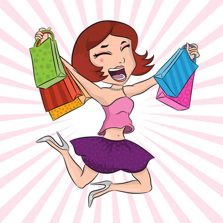 Very happy girl with paper bags after shopping jumping and having fun, beautiful girl poster, fashion and style banner, pretty woman isolated in vector. Concept of discount, prize, bonus. Ilustração