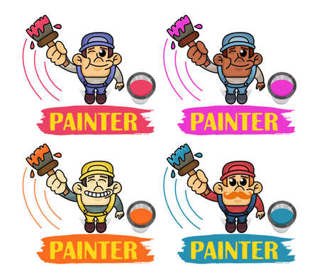 Vector Set of funny Interracial Painters in top view perspective. Man is holding paint roller in hand. Customer Service. Worker in uniform.
