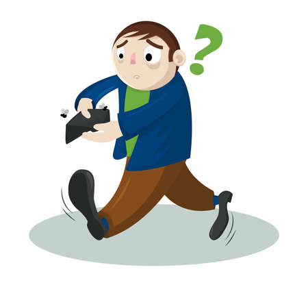 Funny cartoon vector man with no money. Businessman holding empty wallet. Concept of bankruptcy.
