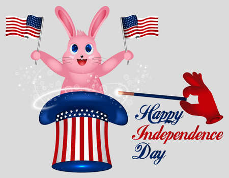 Rabbit Holds American Flag. Star striped Uncle Sam hat. American hat. Magic trick with rabbit in uncle Sam hat. 4th of July. Happy Independence Day. USA. United States of America. American Holiday.