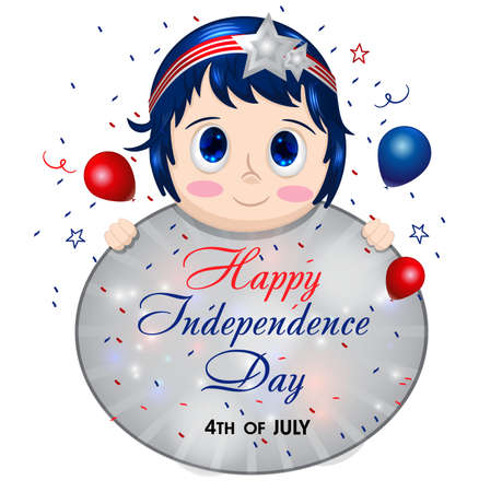 4th July poster with pretty girl. Young woman holding sign. Female in patriotic colors. Happy Independence Day. USA. United States of America. American Holiday. Fourth of July.