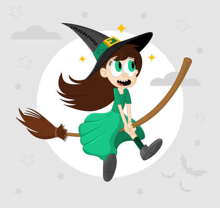 Cute funny little witch flying on a broomstick. Halloween cartoon vector illustration. Element for design, prints and greeting cards.  Ilustração