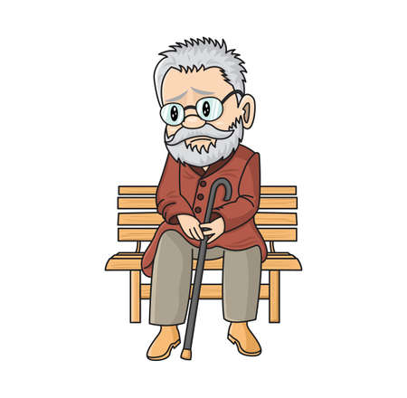 Sad cute old man with a cane sitting on a wooden bench. Lonely vector cartoon grandfather. Unlucky pensioner.  Illustration