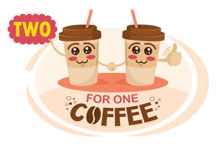 Two-for-one coffee. Buy two get one free coffee concept illustration. Funny cartoon characters coffee cup holding a sign with special offer. Coffee discount concept.
