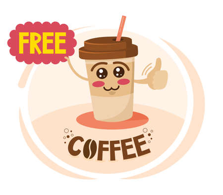 Funny cartoon character coffee cup holding a sign with special offer. Free Coffee discount concept.