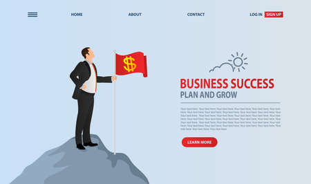 Business leader vector concept with businessman planting flag on top of mountain. Concept for success. Symbol of achievement victory, top career and leadership. Ilustração