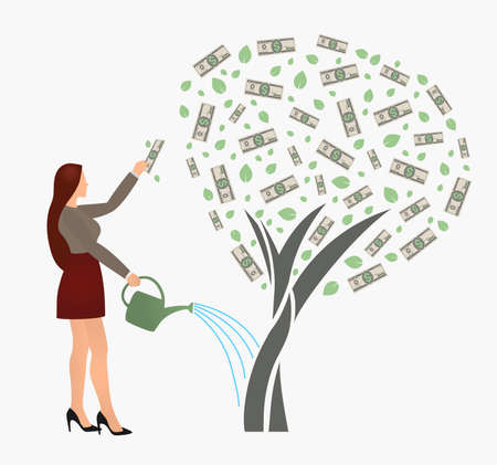 Flat vector businesswoman watering money tree and reaches for the dollar. Successful woman business project investment income concept isolated on white background. Ilustração