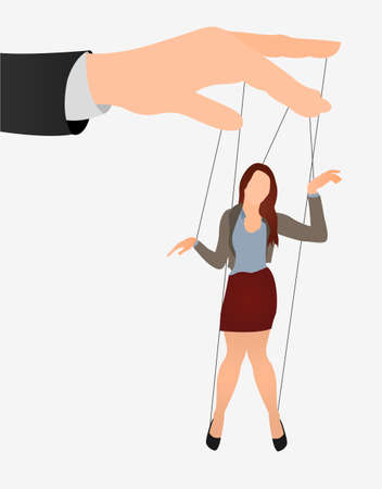 Puppet businesswoman in an empty place leaded by a huge hand. Command, Control, woman, Manipulate, Manipulation flat icon.  Иллюстрация