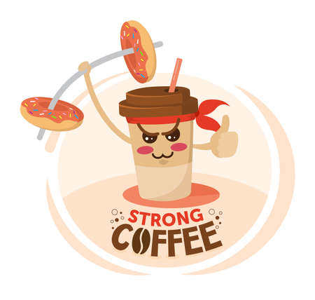 Funny cartoon character coffee cup holding a donut dumbbell. Strong Coffee discount concept.