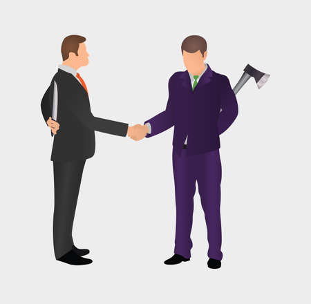 Business partners shake hands holding arms behind their backs. Conflict between two worker. Concept iDea of Bad Business People. Competition & confrontation.