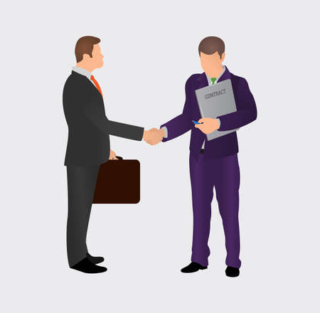 Successful deal concept. Two male businessmen shake hands with each other. Businessmen conclude a contract. Vector illustration, a flat style design.