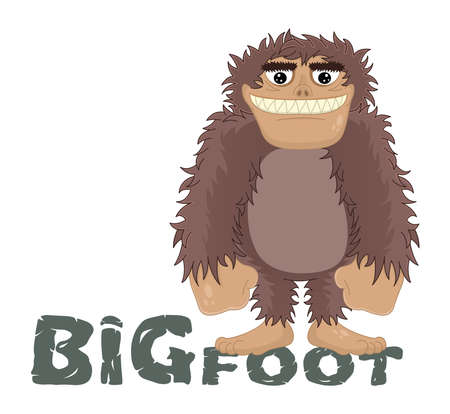Vector funny cartoon sasquatch, yeti, bigfoot standing friendly smile. Caveman standing and smiling while standing on the letters. Ilustração