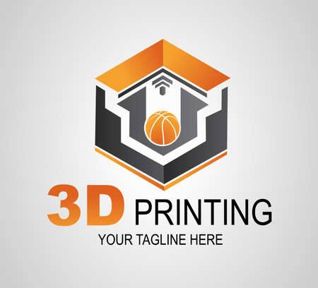 Creative 3D Print logo or sign, icon. Modern 3D printer printing ball. Additive manufacturing.
