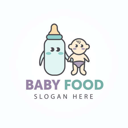 Creative cute logotype baby food. Baby with a bottle of milk best friends. Cartoon style with outline. Element of Shop, market, store for little children.