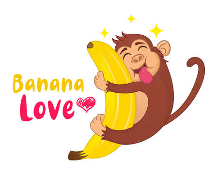 Illustration of Funny vector cartoon monkey hugging a banana with his tongue hanging out. Ð¡concept of hungry animal. Ilustração