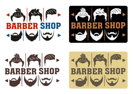 Barbershop Logo with four options in modern style. Idea of interface with a choice of hairstyles and beards. For Label, Badge, Sign or Advertising. Hipster Man, Hairdresser Logo.