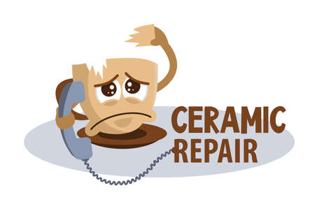 Funny concept sad broken cup phoning and asking for help. Fix broken ceramic icon. Restoration ceramics, dishes, vases. Cute cartoon character with sad emotion.