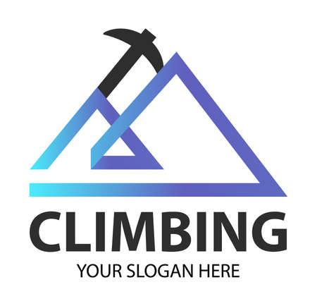 Modern creative climbing equipment logo, Mountaineering axe combined with the silhouette of a rock. Mountain Logotype template Adventure Expedition. Concept for climbing shop, club, competition. Ilustração