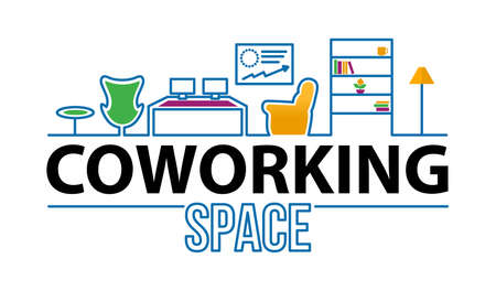 Coworking & Office Spaces logo in a modern interior. Coworking concept line icon. Simple element illustration.