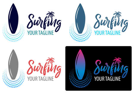 Surfing logo for Surf Club or shop. lettering emblem of Surf club with surfing board palm tree background.