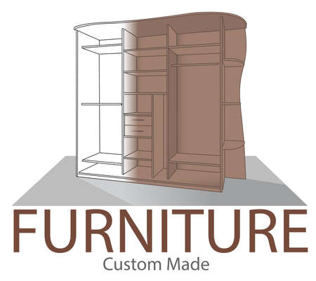 Furniture shop label. Custom made closet. Store badge in modern style. Home interior symbol. Opened bedroom wardrobe. Wood Home Furniture logo template. Realistic 3D concept of before and after. Ilustração
