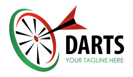 Vector modern darts game label. Creative sporting symbol. Darts, dartboard, ribbon for leisure design.  Hobby concept,