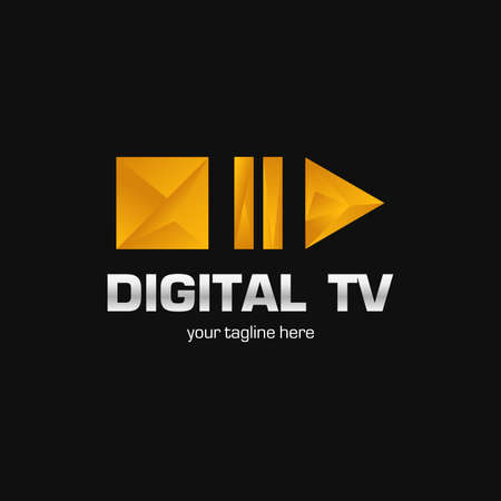 Digital TV logo Template. Media company logo or film production studio or audio-visual studio or on-line media. TV company. Creative media television logotype. Abstract colored vector play logotype.