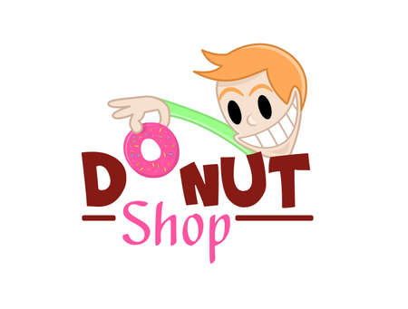 Funny character takes a donut. Vector illustration of delicious sweet donuts shop logo icon. Design for fresh bakery products, bread, cupcake, cake, donut or grocery shop with pink cream donut. Ilustração