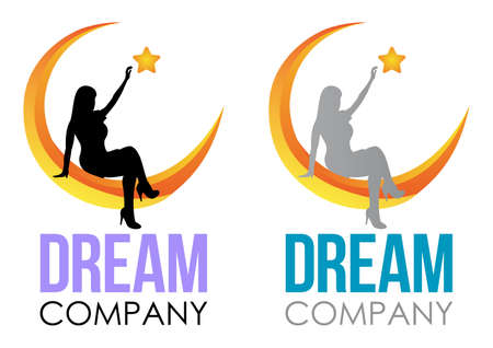 Dream Logo Design. Vector Template sleep sign. Girl sitting on the moon and reaching up for star.  Night icon Design Template.