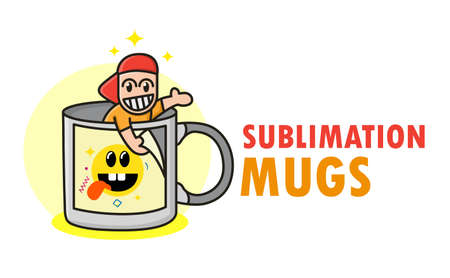 Funny sublimation mugs icon with cute funny kid in cup. Image changing coffee mug template. Ilustração