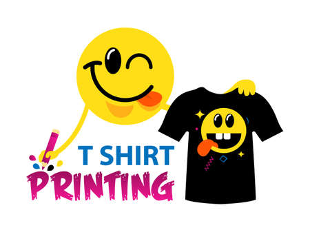 Funny template of t-shirt printing. For typography, print, corporate identity, workshop, branding, factory, serigraphy, silkscreen isolated on white background. Ilustração