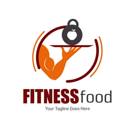 Modern concept Fitness or nutriction Food. Muscle arm serving the dish with heavy dumbbell. Design for print, emblem, t-shirt, icon, sign sticker, logotype.