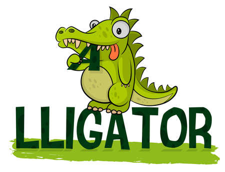 Cute hungry alligator eats icon. Alligator illustration. Fat little croc. Friendly animal from the zoo.