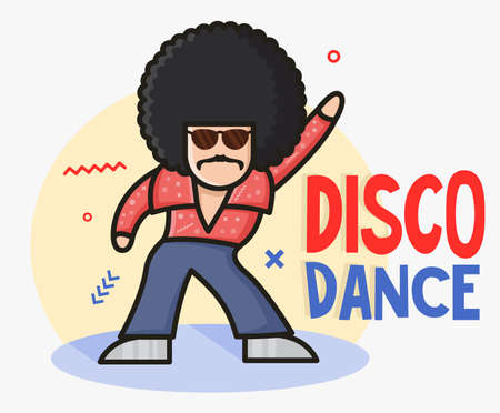 Cool funny cartoon disco dancer mascot.  Soul Party Time. Funk or disco style. Retro afro character. Young man dressed in 1970s fashion.