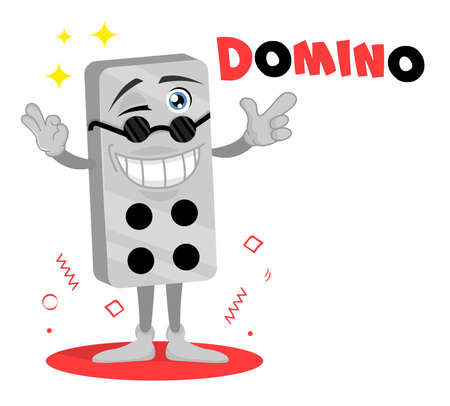 Domino vector funny icon. Cute cartoon character. Brick Game mascot. Outdoor game sticker. Design for print, emblem, t-shirt, party decoration, logotype. etc. Ilustração