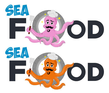 illustration of funny cute octopus cook climbs out of the porthole. Cartoon Character. Excellent icon template highly suitable for food company, restaurant, seafood and catering businesses.