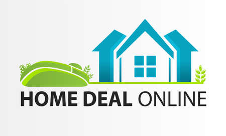Vector Home deal online logo. Smart House Logo design vector template. Сoncept of computer mouse and house for real estate agency. Illusztráció