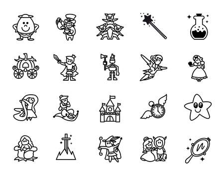 Fairy tales icons set. Set of Fantasy Related Vector Line Icons. Set of 20 minimal fable icons. Çizim
