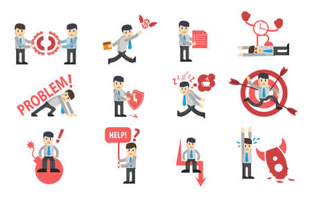 Businessman failures character design set. Ð¡ollection of business stories. Flat style modern vector illustration. Design for icon, sign, web, symbol, etc.